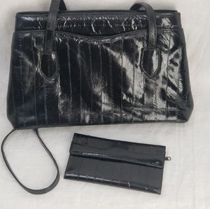 Handbags - Gorgeous Black Eel Skin Purse and wallet set